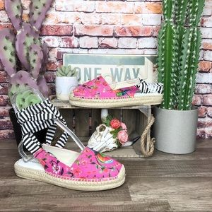 Rampage Pink Espadrilles Ankle Wrap Birds New 9.5